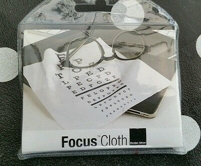 Design Ideas Focus glasses microfiber Cleaning Cloth with Eye chart Quirky gift