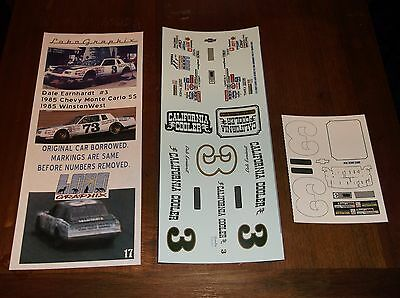Dale Earnhardt #3 California Cooler MCSS 1/24th scale decals LoboGraphix