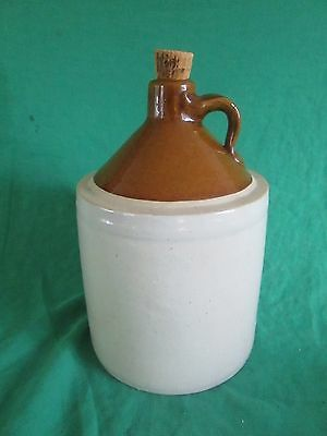 Vintage Antique Whisky Moonshine Stoneware Jug Brown & cream Gallon approx. cork