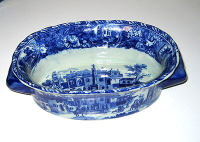 """Victoria Ware Ironstone Bowl with Handles - Blue Village Pattern - 3"""" x 10"""" x 6"""""""