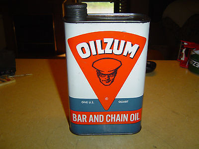 Vintage OILZUM Bar And Chain Oil, White & Bagley Co. MA 1 Quart Metal Can , NICE