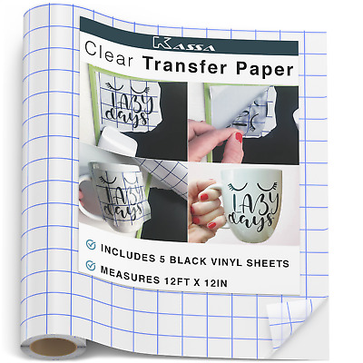 12ft Vinyl Transfer Tape Roll  - Silhouette & Cricut Decal Application Paper USA