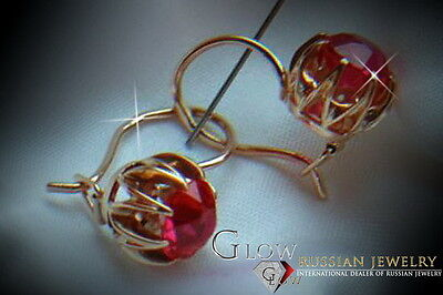 verb062 Russian rose Soviet USSR 14k gold Vintage Ruby earrings Unique!!!