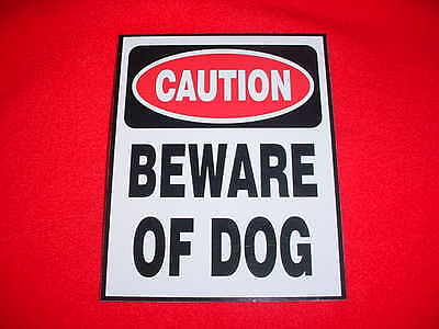 BEWARE OF DOG HOME CAUTION SECURITY WARNING SIGN for WINDOW or YARD - Stop Theft