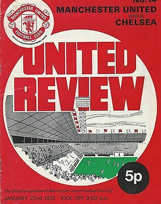 Vintage United Review Programme from 1972 Manchester United v Chelsea