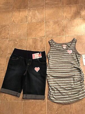 womens maternity knit striped top and denim shorts Size XS Great Expectations