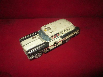 "Vintage Tin Toy Car Police ""high Way Patrol"" ,friction ,made In Japan Original"