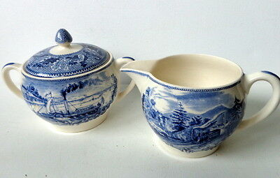 Johnson Bros Blue Historic America Sugar Bowl & Creamer Pitcher Set ~ England