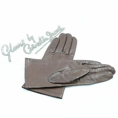Vintage Cornelia James Brown Leather Gloves With Packaging *FLASH SALE* *BARGAIN