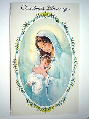"""VINTAGE """"HOLY MOTHER & CHILD"""" CHRISTMAS GREETING CARD w/WHITE ENVELOPE"""