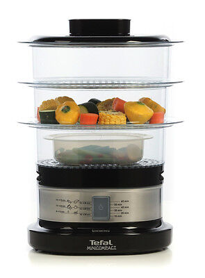 Food Steamer Tefal Vegetable Basket Dish 3 Tier Compact Cooker Stainless Steel