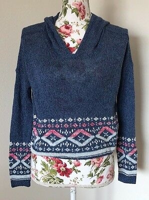 abercrombie kids girls size large blue knit pullover cotton sweater w hood NWT