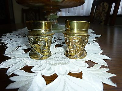 Pair vintage small brass toby jug's