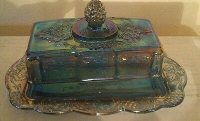 Vintage blue carnival glass butter dish with tray