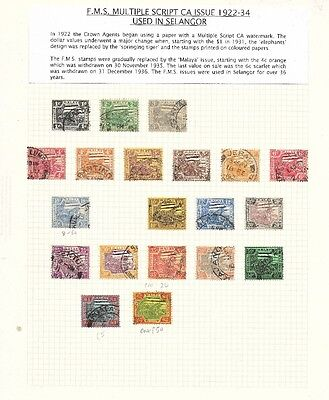 Malaya - Selangor 1922-34 collection of F.M.S stamps