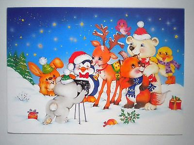 """VINTAGE """"RUDOLPH & FRIENDS TAKING PICTURES"""" CHRISTMAS GREETING CARD w/ENVELOPE"""