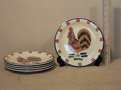 Style Eyes Red Check Rooster Collection Set of 5 Salad Plates by Baum Bros