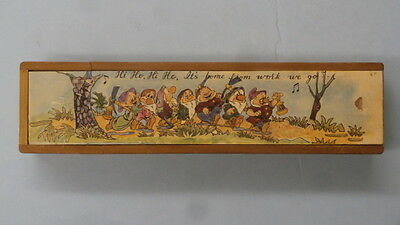 Vintage Disney's The Seven Dwarfs Wooden Pencil case  Rare