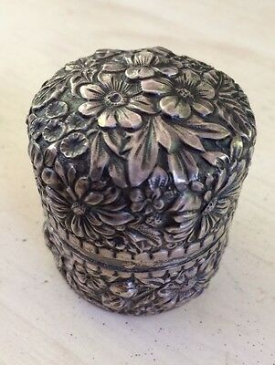 "Antique Inkwell Sterling Silver--Travel Size 1 5/8"" Round--Circa 1900's"