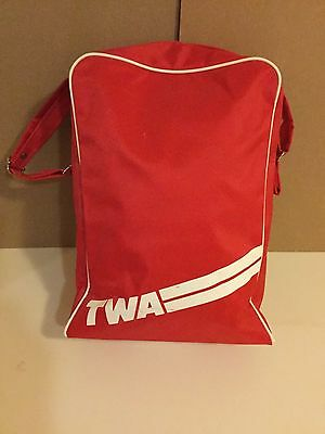 TWA trans world airlines carry-on travel tour overnight bag red vinyl case USA