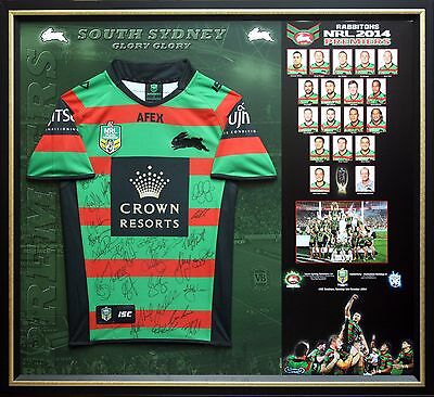 Nrl South Sydney Rabbitohs 2014 Premiers Signed Jersey Framed With Coa