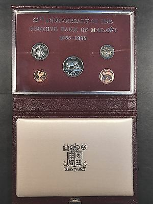 1985 20th Anniv. of the Reserve Bank of Malawi 5 Coin Wildlife Proof Set w/ COA