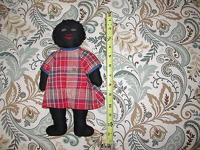 VINTAGE AMERICANA PRIMITIVE ART BLACK CLOTH RAG DOLL Estate Sale Find