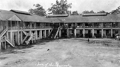WW1 WWI interior of US military barrack square - location unknown