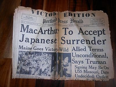 Original Newspaper Announcing Japanese Surrender and End of WWII Aug. 15, 1945