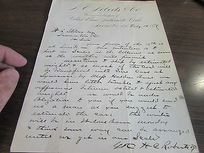 Antique - A.g. Roberts & Co - Wilkes-Barre Coal - Rochester N.y. 1879 Letterhead