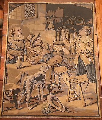 """ANTIQUE WALL TAPESTRY - MADE IN FRANCE - 37"""" X 49"""" No RESERVE!"""