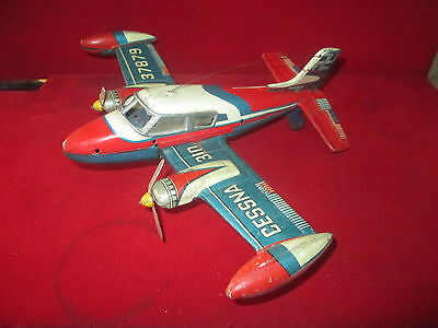 "Vintage Tin Toy Aircraft ""cessna 37879 "" Friction Made In Japan Original"