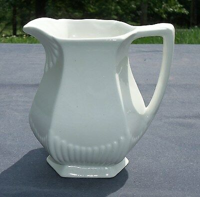 "Vtg White IRONSTONE 6"" PITCHER. Empress, 6 panel ribbed Wm Adams & Sons, England"