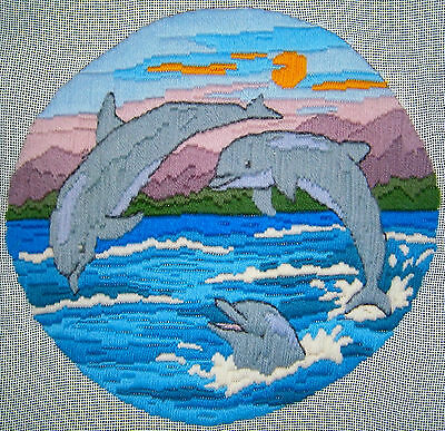 """SEMCO Long Stitch """"Dolphins"""" Hand Stitched Embroidery Craft Tapestry"""