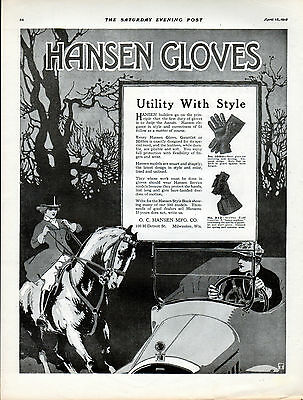 1918 Hansen Gloves Ad --Utility with Style --x917