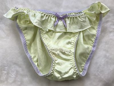 Vintage Japanese Brief Panties Nylon~Satin Silk Knickers Panty Color Yellow Mint