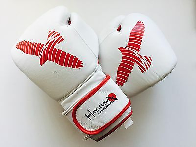 Hayabusa Boxing Gloves 16oz Red/White Muay Thai MMA COW HIDE LEATHER