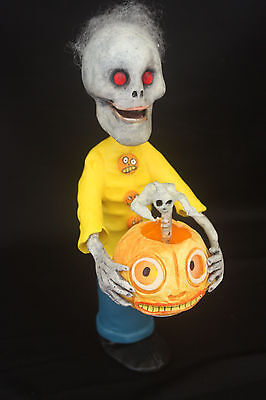 Ooak Skeleton Candy Container With Jol Light & Springy Ghost Yikes!