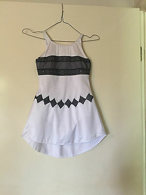 Ice Skating Costume - White Lycra & Black Sparkle Mesh Leotard - Child 8/9  New