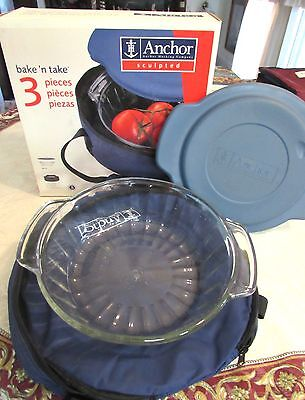 Anchor Hocking 3 Pc Bake N Take 2 Qt. Bowl, Lid &  Insulated Tote Carry Case Nib