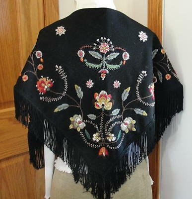 Norwegian Norway Handmade Embroidered 'vestfold' Cape W/floral Design 'great'