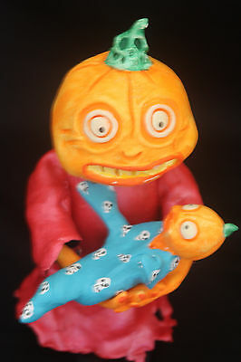 Paper Mache Pumpkin Gal With Baby Candy Container Bobble Head