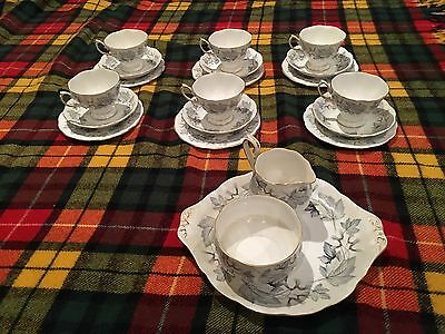 Vintage ROYAL ALBERT Bone China Silver Maple 21 Piece Tea Set