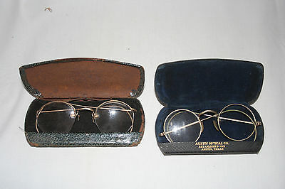 2 vintage eye glass..spectacles in case..Austin Optical and other is blank