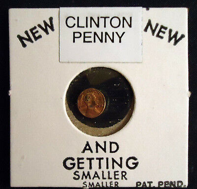 """Nixon Novelty Miniature Penny Relabeled To Clinton Penny 5/16"""" Diameter"""