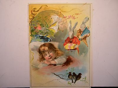 A Very Large Victorian Trade Card: Easter Greetings Lion Coffee