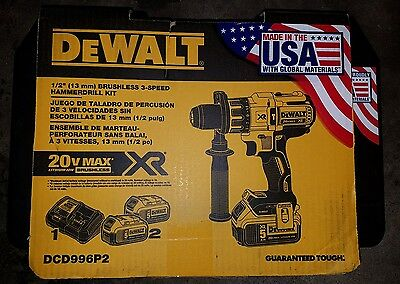 "New Dewalt Dcd996P2 1/2"" 3 Speed Brushless Hammerdrill Kit 20V Max 5.0Ah Lithium"