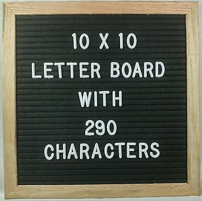 Letter Board Display Sign w/ 290 Letters included 10x10 inch Solid Oak Frame