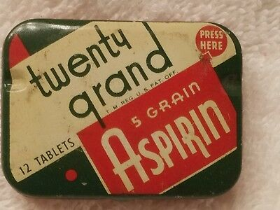 Vintage Twenty Grand Aspirin Medicine Tin - 12 Tablets Empty