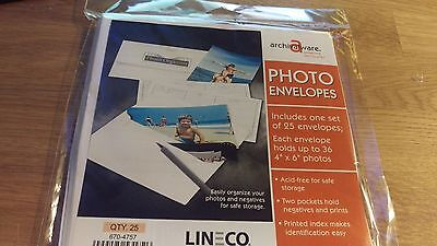 Lineco Photo File Envelopes 4X6 Inch 25/Pk